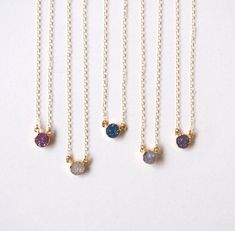 Gold Druzy Gemstone Choker Pendant Necklace