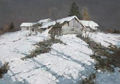 Alexander Kremer, Russian, Moonlight, oil on canvas, 19 x 27 Moonlight Painting, Painting Snow, Winter Painting, Winter Art, Contemporary Landscape, Landscape Art, Landscape Paintings, Russian Painting, Russian Art