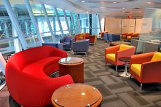 Global Total Office lobby furnishings in primary colors, available through Connecting Elements