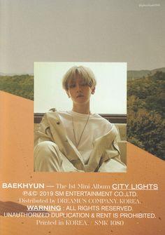 Poster Boys, Kpop Posters, Beige Aesthetic, Album Releases, High Resolution Photos, City Lights, Korean Singer, Baekhyun, Booklet