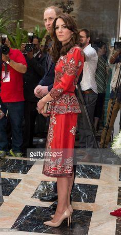 Catherine, Duchess of Cambridge and Prince William, Duke of Cambridge lay a wreath at Taj Hotel, scene of Mumbai terror attacks on April 10, 2016 in Mumbai, India. (Photo by Mark Cuthbert/UK Press via Getty Images)