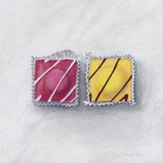 Joel Penkman 'Fondant Fancies' Egg Tempra on gesso board Candy Drawing, Food Drawing, Joel Penkman, Sweets Art, Sarah Graham, Gcse Art Sketchbook, Food Painting, A Level Art, High Art