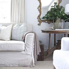 Calming neutrals speak comfort & relaxationin in this beautiful space designed by @cottonwoodinteriors. | Via Instagram: @scoutandnimble