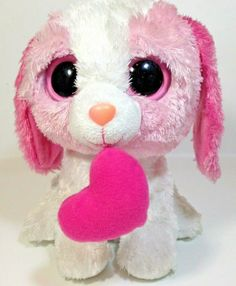 Ty Beanie Boo Cookie Dog Boos Buddy Plush Pink & White With Heart Collectible Ty Beanie Boos, Pink Poodle, Dog Cookies, Hang Tags, Dog Toys, Pink White, Hello Kitty, Teddy Bear, Dogs