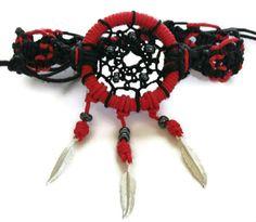 Red And Black Dream Catcher Hemp Bracelet with by COHempBracelets, $14.00