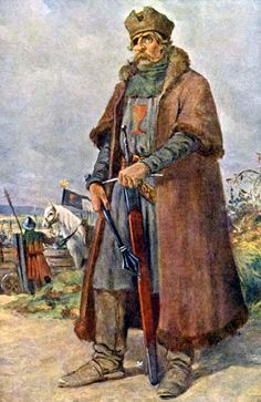 """Jan Žižka (c. 1360–1424), Czech general and Hussite leader - nicknamed """"One-eyed Žižka.""""  He fought in the Battle of Grunwald (July 15, 1410), where he defended Radzyń against the Teutonic Order. Later he played a prominent role in the civil wars in Bohemia during the reign of Wenceslas IV. Žižka's tactics were unorthodox and innovative. In addition to training and equipping his army according to their abilities, he used armored wagons armed with small cannons and muskets..."""