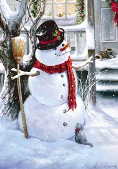 Old-Fashioned Winter Christmas Scenes | Old Fashioned Snowman