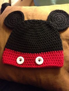 Crochet Mickey Mouse Hat by JezzyBees on Etsy, $20.00