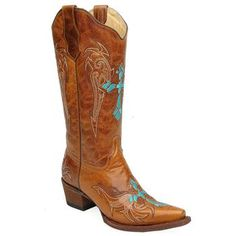 Circle G Women's Turquoise Cross Embroidered Western Boots