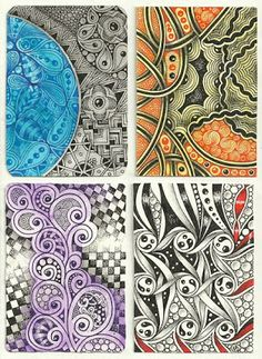 Enthusiastic Artist: Eye candy! Zentangle ATC swap ~ #CertifiedZentangleTeacher Margaret Bremner