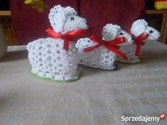 BARANEK BARANKI ŁABĘDZIE SZYDEŁKOWE OZDOBY WIELK Dekoracje i ozdoby Nowa Ruda Crochet Baby, Knit Crochet, Diy Y Manualidades, Easter Crochet Patterns, Egg Cups, Chrochet, Crochet Projects, Lamb, Fondant