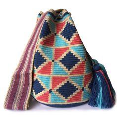 $83.00-$91.00 USD. Each #Wayuubag is one of a kind and has taken from 15-20 days to make, each make has been crafted with love in the desert of La Guajira, Colombia.     www.lombiaandco.com Tapestry Crochet Patterns, Color Harmony, Backpacks, Wool, Knitting, How To Make, Leather, Crafts, Diy