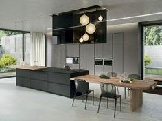 cuisine noire et grise et lot central httpwwwhomelistycom - Cuisine Noir Mat Et Bois