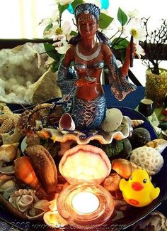 Herself A lovely altar to Yemanja. MoreA lovely altar to Yemanja. Voodoo, Yemaya Orisha, Orishas Yoruba, Pagan Altar, Wiccan, Home Altar, Sea Witch, Water Witch, Black Mermaid