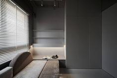 四季妍 on Behance Bay Window Design, Study Space, Blinds, Bookcase, Shelves, Interior Design, Behance, Home Decor, Bedroom