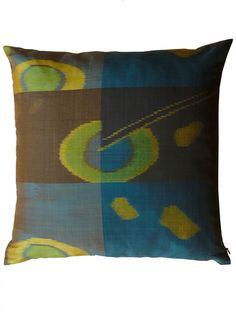 Pillow Thai Silk Ikat Peacock Brown by IMPERIO jp
