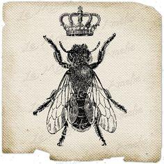 The Queen Bee     paris france fleur de lys crown vintage romantic ephemera gift tag label napkins burlap pillow Sheet n.151