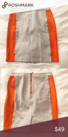 Club Monaco Pencil Skirt Club Monaco stretch cotton blend fitted pencil skirt knee/length in gray/orange. Cotton blend makes the skirt feel super soft. Skirt pairs well with a blouse and heels for work and can be jazzed up with a beaded top for a night out. Easy to care for as you can hand wash. Only worn 3 times. Excellent condition. Club Monaco Skirts Pencil