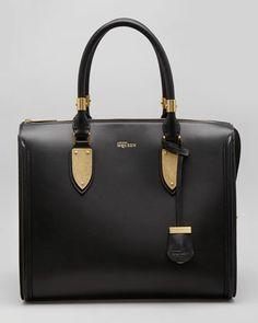 Alexander McQueen Heroine Leather Zip-Up Tote Bag, Black - Neiman Marcus