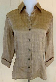 Coldwater Creek Women's Sz S Golden Brown Silky Crepe Sheen Look 3/4 Sleeve Top #ColdwaterCreek #ButtonDownShirt