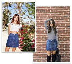 A saia jeans da temporada #jeans #skirt #buttons #trend #summer #alexachung #fashionista #saia #ritaheroina