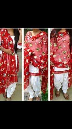 White and red phulkari suit
