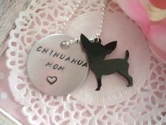 Chihuahua Mom Hand Stamped Keychain Black Or White Chihuahua Charm Made To Order. €6.00, via Etsy.