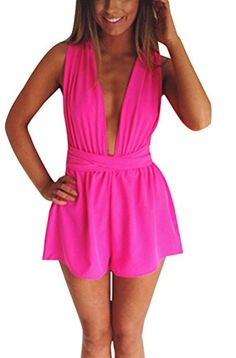 5f490fff198 Memorose Women Different style CrossHalter Strap Backless Short Jumpsuit  Romper Pink XL  gt  gt
