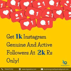 Increase your Instagram fan following with 1k genuine and active followers. Get in touch with us to find out more at www.bgspatna.com You also contact us on Whatsapp at 7004475792. #Instagram #InstagramFollowers