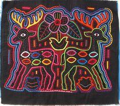 Deer pair Mola made by Kuna (Cuna) Indian people of Panama's San Blas Islands.