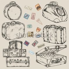 Set of Old Vintage Suitcases and Road Labels clip arts - ClipartLogo.com