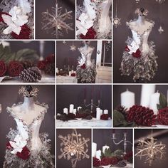 Christmas Mannequin collage. So gorgeous. Love. ❤️  Photos by Janellabelle Photo.