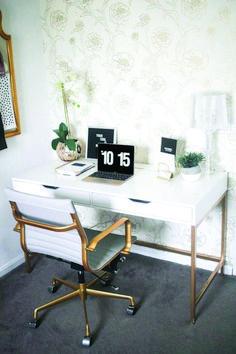 Gold and White Office Decor Fresh White and Gold Desk Ikea Hack Money Can Buy Lipstick White Office Decor, Modern Office Desk, Home Office Desks, Home Office Furniture, Gold Office, White And Gold Decor, Furniture Ideas, Modern Furniture, Furniture Design