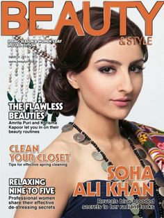 Soha Ali Khan on The Cover of Beauty & Style Magazine - March 2013.
