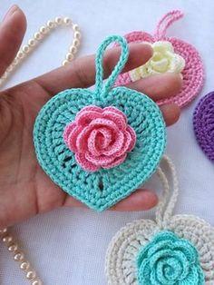 Crochet For Beginners Crochet pattern/Crochet heart/Crochet tutorial - Crochet Puff Flower, Crochet Flower Tutorial, Crochet Flower Patterns, Crochet Flowers, Crochet Hearts, Crochet Designs, Granny Square Crochet Pattern, Crochet Squares, Crochet Motif