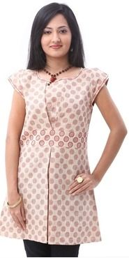 Roposo.com - Latest pleated dotted and printed cotton cap-sleeve casual tunics best for summer online enah beige embroidered cotton boat neck cap sleeves tunic