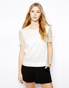 Jovonna Ingrid Top with Embellished Sleeves