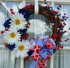 Check out this item in my Etsy shop https://www.etsy.com/listing/236552191/floral-grapevine-patriotic-wreath4th-of