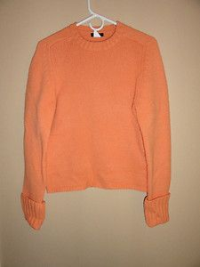 $39.95 Women's J. Crew 100% Lambswool Orange Crew Neck Sweater Size: Large