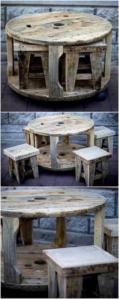 You can bring about the adjustment of the wood pallet creation over the elegant yet simple crafting of the outdoor furniture concept artwork as well. It is much stylish looking round top table with the stool. It do look dramatic because the brown framing of the pallet wood.