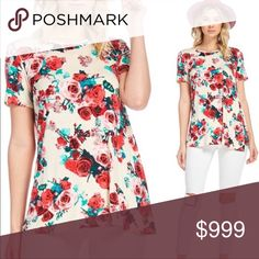 🌺COMING SOON🌺Like to be notified of arrival Ivory floral short sleeve top. Priced at $33. Like to be notified of arrival. Tops Tees - Short Sleeve
