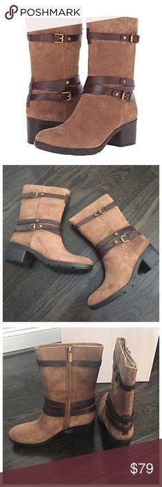 ✨NIB✨ Bandolino Brown Suede Buckle Boots Brand new in box! Bandolino brown suede boots with fun contrast trim and buckle detail. Interior side zip. Chunky 2 inch heel. ***No Trades*** Bandolino Shoes Combat & Moto Boots