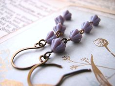 Czech glass flower earrings old fashioned lavender $6  #brigteam #etsyfollow #jewelry @Shadow
