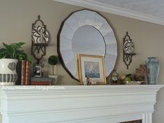 Nice mantel with Cordova sconces, Santorini Urn, firefly lanterns Living Willow, Willow House, Southern Living Homes, Santorini, Farmhouse Style, Lanterns, Sconces, Simple, Furniture