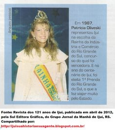 IJUÍ - RS - Memória Virtual: Patrícia Oliveski - amostra da beleza ijuiense - f...