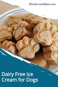 Easy, 2 ingredient dairy free ice cream for dogs. Dog Ice Cream, Dairy Free Ice Cream, Vegan Gluten Free, Vegan Vegetarian, Frozen Dog Treats, Ice Cube Trays, Peanut Butter Banana, Dog Treat Recipes, 2 Ingredients