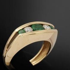 Gold, diamonds and emeralds ring #green #pantone by kns610