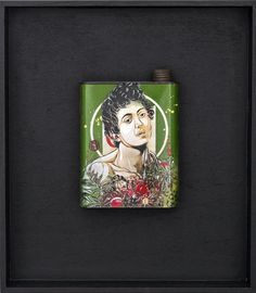 """C215 Boy with a Basket of Fruit, 2012 Medium: Mixed Media Stencil on Found Metal Dimensions: 17"""" x 19"""" Tray, Framed - Line Dot contemporary art editions and multiples in Chicago"""