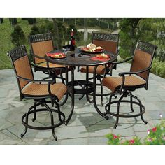 Sunjoy Seabrook 5 Piece Patio High Dining Set