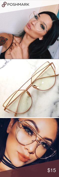 Katia Rose Gold Clear Cat Eye Glasses New Rose Gold Cat Eye Clear Glasses Rose Gold frame High quality metal frame Does not include case Bundle to save ✨ Follow & Tag: Ig: Shopbellavictoria Fb: Bella Victoria BellaVictoriaBoutique Accessories Glasses